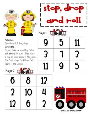 Fire Safety Ideas: You can talk about fire safety and how stop drop and roll is important. After students can play a game like this :)