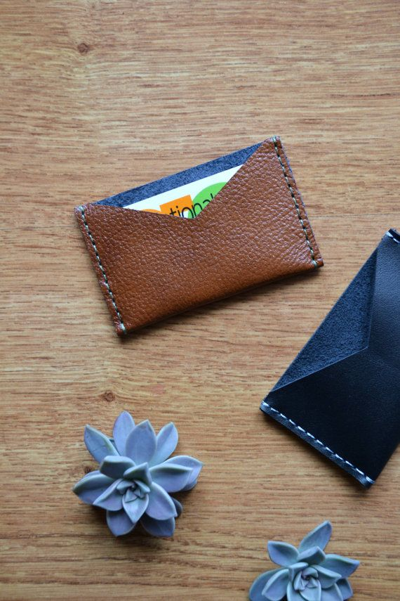 Brown leather card holder / Card wallet / Black by LeatherDetails