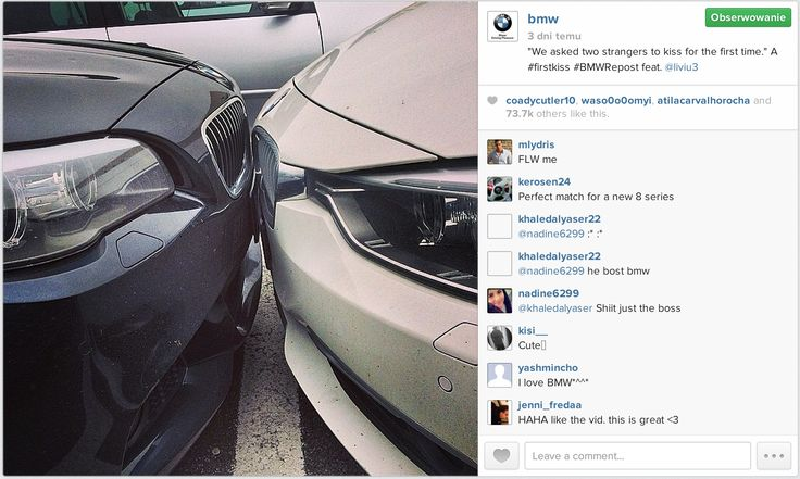 """Real-time marketing w wykonaniu #BMW. Odpowiedź na viral """"First kiss"""".  #Instagram"""
