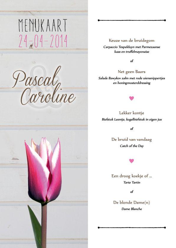 Tulpen bruiloft diner tafel menukaart