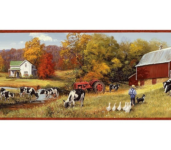 For MOM: Interior Place   Burgundy Cow Pasture Wallpaper Border, $17.99  (http: