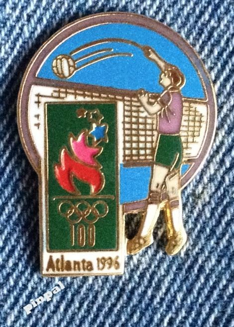 #Volleyball olympic pin #badge ~ 1996 atlanta ~ torchmark #games logo,  View more on the LINK: 	http://www.zeppy.io/product/gb/2/391502005802/