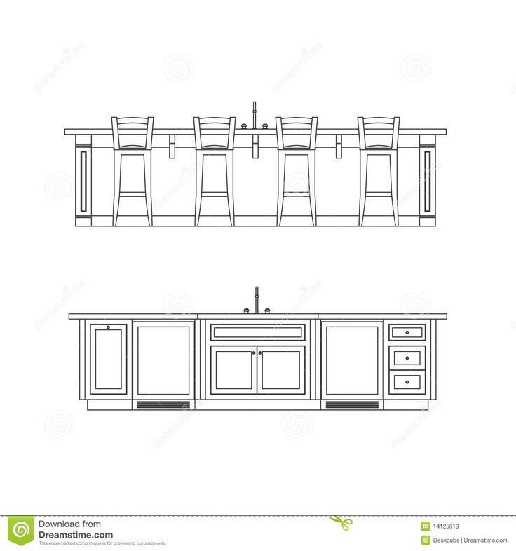 Kitchen Design Elevation: Kitchen Island Elevation Drawing With Sink