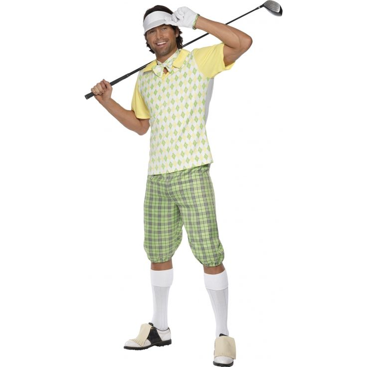 Golfers kostuum heren  Fun kostuum van een Golfer. Het Golfers kostuum is wit geel en groen gekleurd. Het Golfers pak bestaat uit een geruite lichtgroene broek wit shirt met groene ruitjes en gele mouwtjes. Inclusief zonneklep strikje en handschoen. Artikel is enkel in maat Medium (herenmaat 46/48) leverbaar.  EUR 46.95  Meer informatie