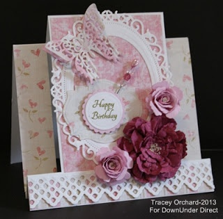DownUnder Direct Inspirations: Shades of Pink Birthday Step Card