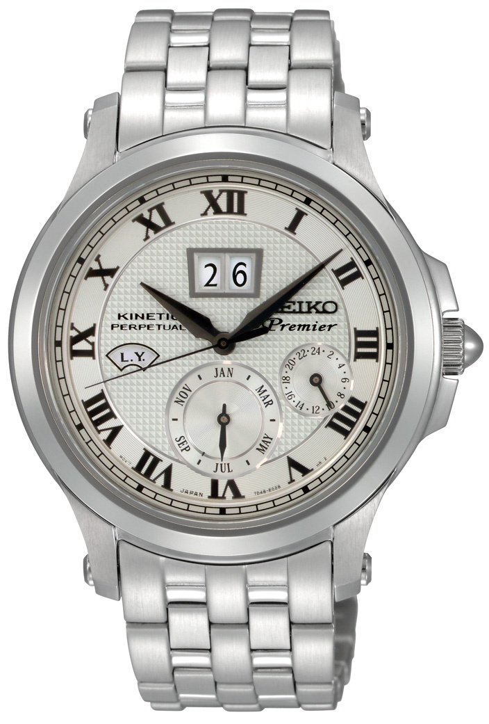 Seiko Premier, Kinetic Perpetual Watch, With stainless steel band and black accents, SNP039  www.SeikoUSA.com