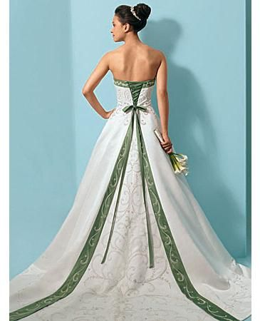 Buy Exquisite Elegant Divine Satin Strapless Bicolor Embroidery Wedding Dress In Great Handwork