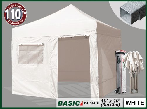 BASIC 10x10 Canopy Tent + 4 Zipper Walls (Select Color) - EurMax.com $239.95
