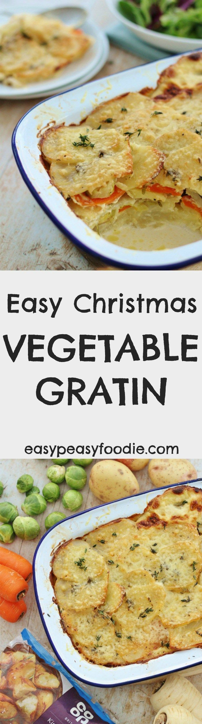 Want to save yourself a lot of hassle and effort this Christmas? Then cook my Easy Christmas Vegetable Gratin! All the key Christmas vegetables in one dish. As a bonus this looks much more difficult than it really is…your guests will think you've been slaving all morning in the kitchen, when really this takes just 15 minutes prep and then just a little over an hour in the oven. Plus, if you make it in a pretty dish, you can just serve it on the table just as it is…so less washing up to do on…
