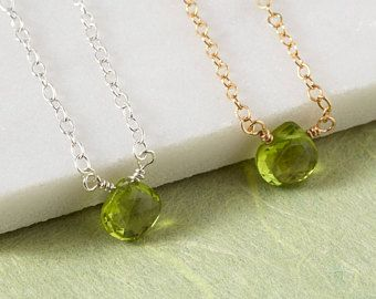 Peridot Necklace, August Birthstone, Gold Filled Peridot Necklace, Birthstone Necklace, Silver Peridot Necklace, Birthstone Jewellery