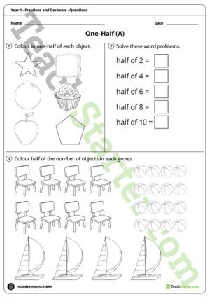 Fractions Worksheets – Year 1