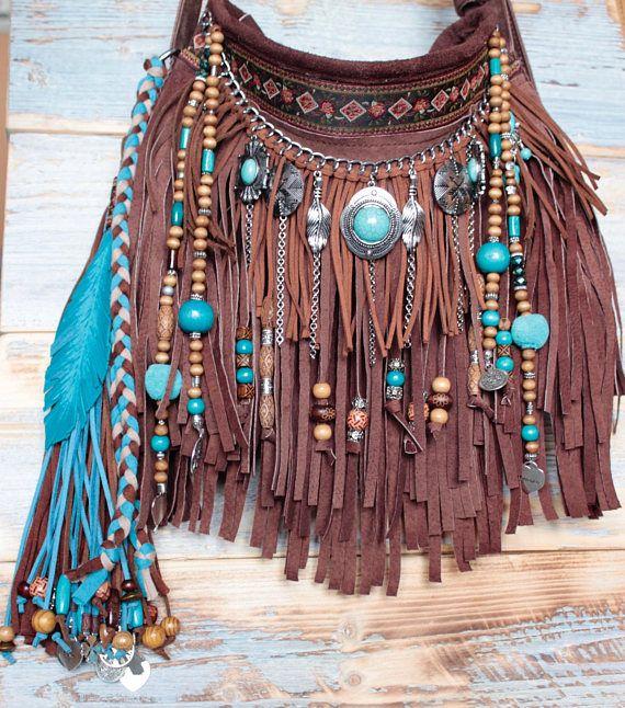 Boho bag, leather boho bag, fringe leather bag, hippie bag, hippie fringe bag, fringe bag, gypsy bag, festival bag, hippie purse ---------------------------------------------------------------------------------------------------------------- - Color: Dark Brown & Turquoise - Main