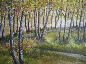 Waldlichtung im Herbst - in Aquarell