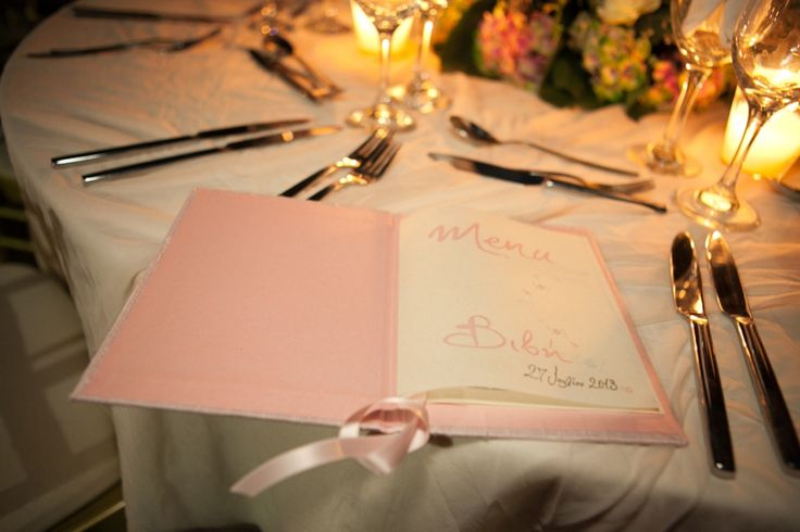 Silk covered Menu Book with handlettering for your elegant christening reception. http://www.mazi-chirography.com/