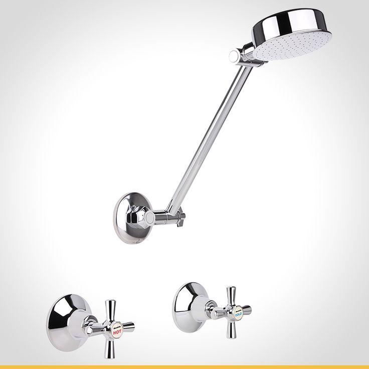 Cadenza cross handle chrome shower set