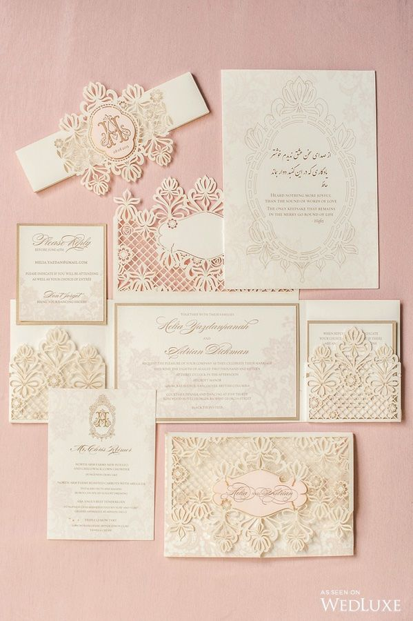 civil wedding invitation card%0A Dusty pink stationery for a lush  pastelperfect wedding