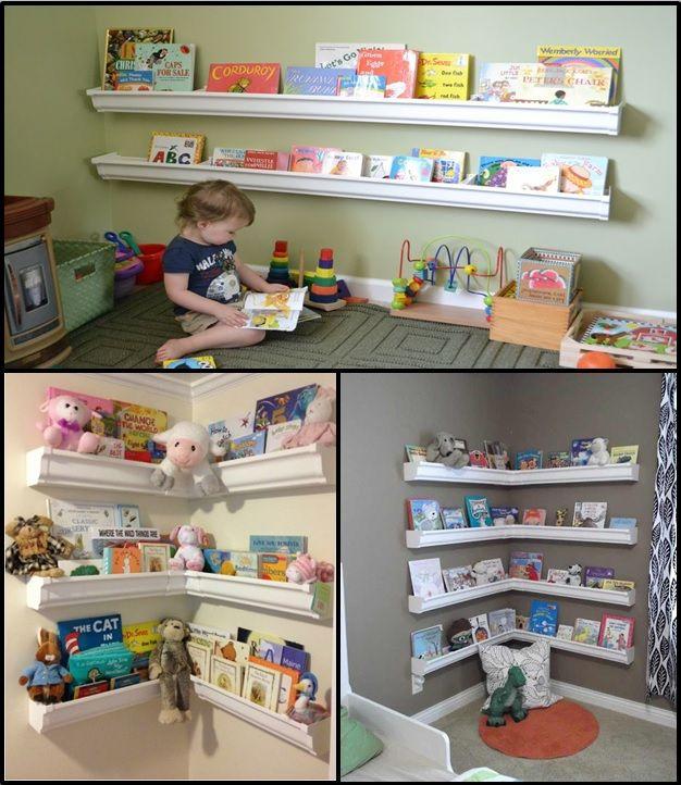 DIY playroom bookshelves made from 'gutters' ... check it out ... GREAT IDEA! http://www.cheeriosandlattes.com/rain-gutter-bookshelves-diy/