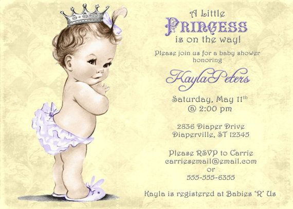 Vintage Baby Shower Invitation For Girl Princess by jjMcBean, $20.00 Instead of purple, I want pink and maybe a white background?