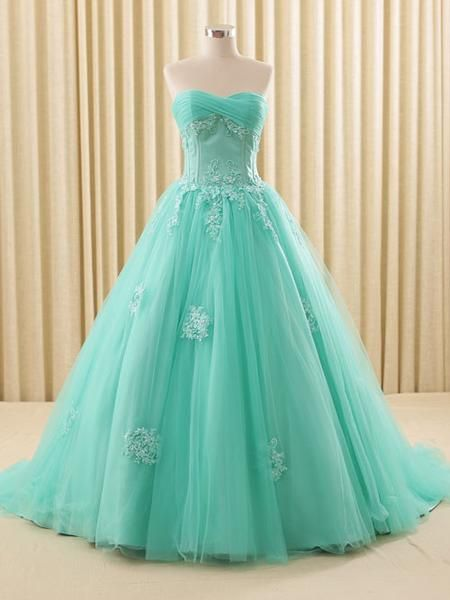 Strapless turquoise lace ball gown wedding dress with sweetheart neckline, also great for any special occasions. If you like the dress made without a train, please specify it in the notes section. Pro