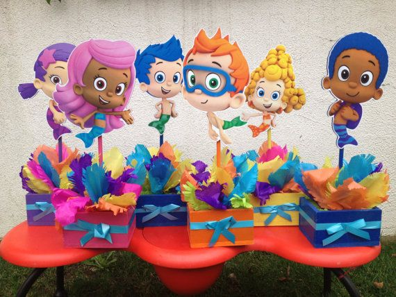 Bubble Guppies 1st 2nd 3rd 4th 5th Birthday Centerpieces set of 6. $105.00, via Etsy.