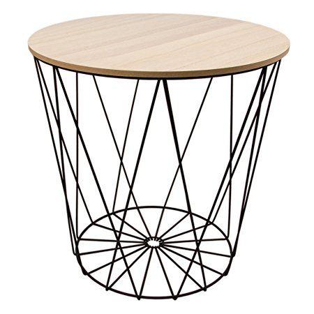 Tisch Design Beistelltisch Drahtkorb Metall Mit Deckel Weiss Schwarz 40cm