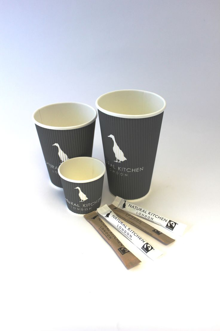 Custom printed coffee cups and sugar sticks for Natural Kitchen. We love their branding! Make your brand stand out with printed cups and bags that your customers will carry around with them.