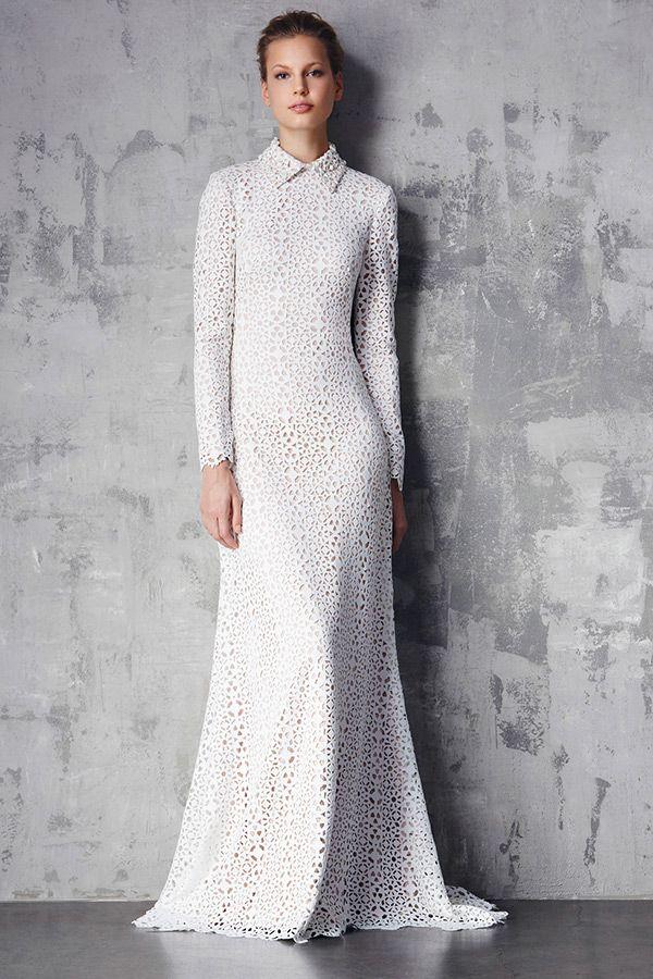 tadashi shoji prefall 2015 dresses collar long sleeves texture pattern white sheath gown
