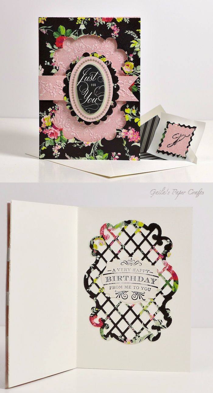 Birthday card made using Anna Griffin papers, embossing folders, initial stamp and All Hearts lattice die, by Gaila's Paper Crafts.