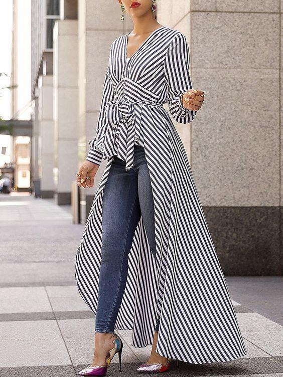 54f9c9cfe1a715 V-Neck Striped Tie Waist Dip Hem Irregular Blouse