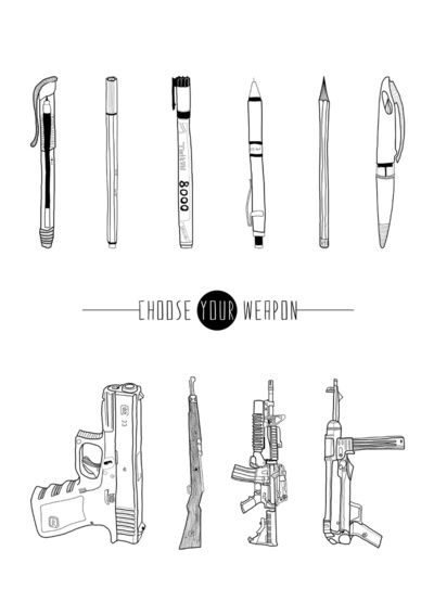 http://society6.com/product/US--THEM-CHOOSE-YOUR-WEAPON_Print?tag=political