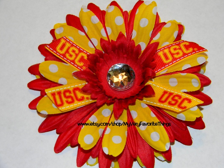 USC Trojans Game Day Hair Flower Clip by myveryfavoritethings at Etsy $8
