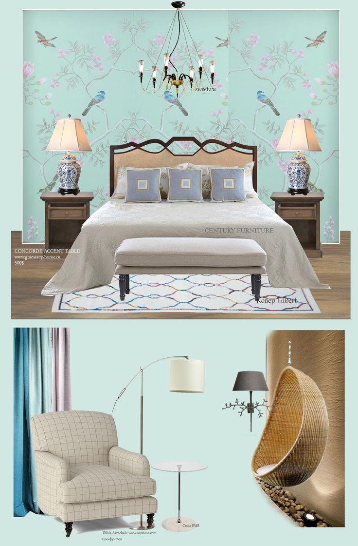 blue cozy bedroom