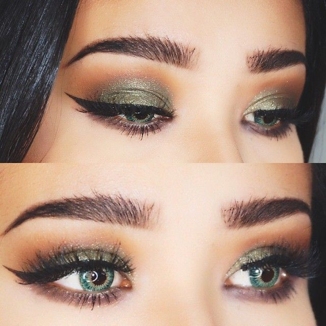 Green eyeshadow light eyes