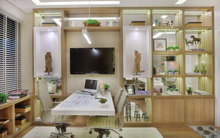 Projeto de um escritório no Ed. Madeira em Alphaville - Construtora Cyrela #quitetefaria sala comercial, sala decorada, escritório