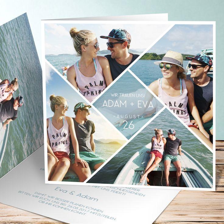 Ihr möchtet zu eurer Hochzeit romantische und kreative Einladungskarten gestalten? Hier ein schönes Beispiel einer Klappkarte mit vielen Bildern des Brautpaars. Sieht morden aus und ist ideal, wenn ihr ein Verlobungsshooting gemacht habt und eure tollen Bilder zeigen möchtet. Solch kreative Einladungskarten bekommt ihr in unserem Kartenshop.