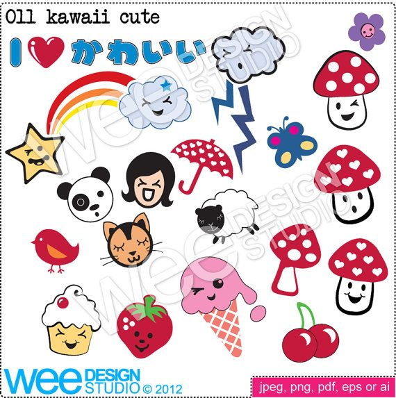 011 Kawaii clipart    I love Kawaii and all things Japanese. These looked great printed onto tote bags and tea towels.    17 separate quality