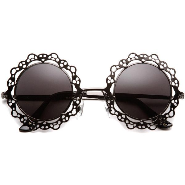 Charlotte Rose Cut Out Metal Sunglasses ($14) found on Polyvore featuring accessories, eyewear, sunglasses, glasses, fillers, hippy sunglasses, print sunglasses, round frame sunglasses, hippy glasses and round frame glasses