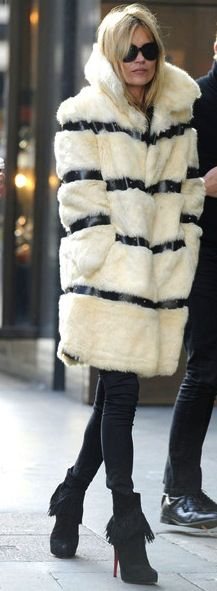 Kate Moss.  Love the coat with the black skinny jeans and Louboutin boots....#myORwinter