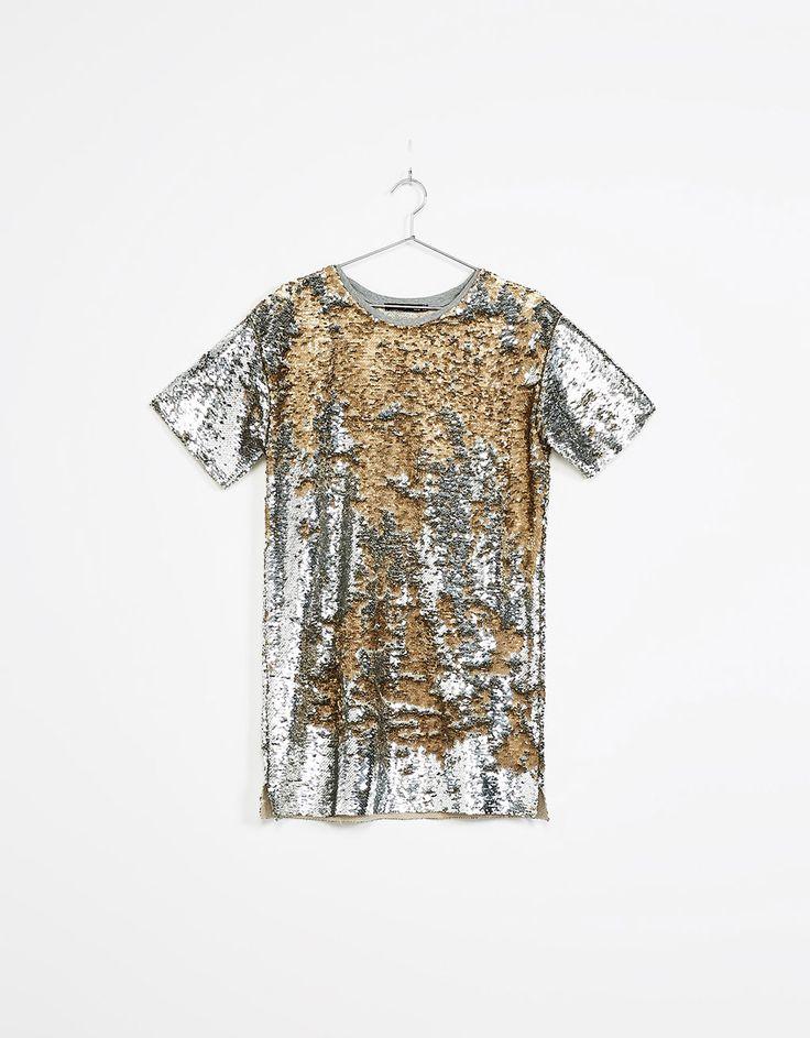 Camiseta lentejuelas reversibles - Vestidos & Monos - Bershka Mexico