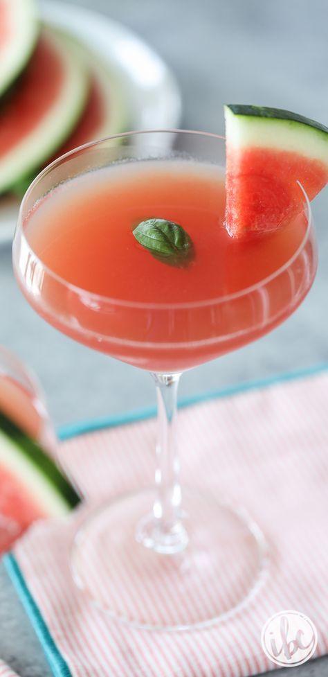 Watermelon Basil Martini cocktail recipes - summer cocktail recipe #watermelon #martini #basil #recipe