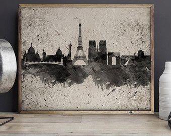 Acquerello di Parigi Stampa poster di ArtPrintsVicky su Etsy