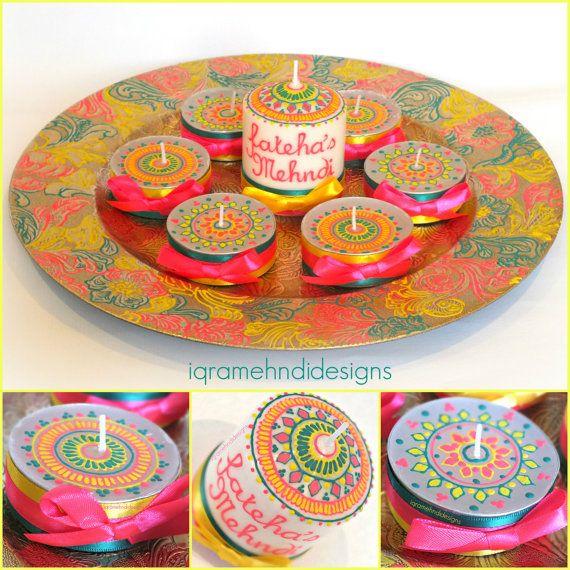 Henna Mehndi inspired Wedding Candle Set. by IqraMehndiDesigns, £22.00