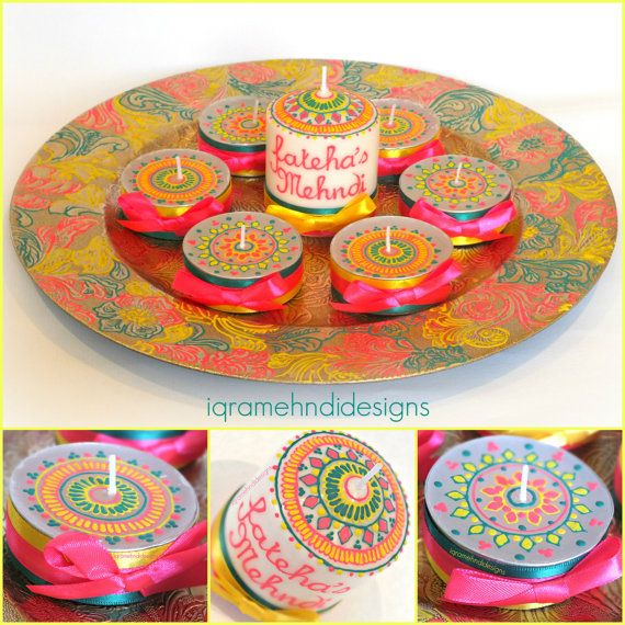 Henna Mehndi inspired Wedding Candle Set. by IqraMehndiDesigns, £22.00
