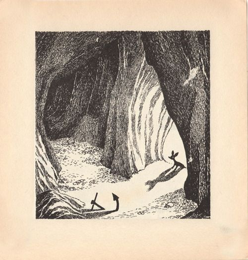 "Illustration from ""Comet in Moominland"" by Tove Jansson via moominpl (tumblr).  ""Then Sniff saw that it was a cave, a real cave, such as he had always dreamed of finding. Its mouth was rather small, but inside it opened out into a big room. The rocky walls rose smoothly up to a gap in the roof which let in the sunlight, and the floor was covered with smooth white sand."""