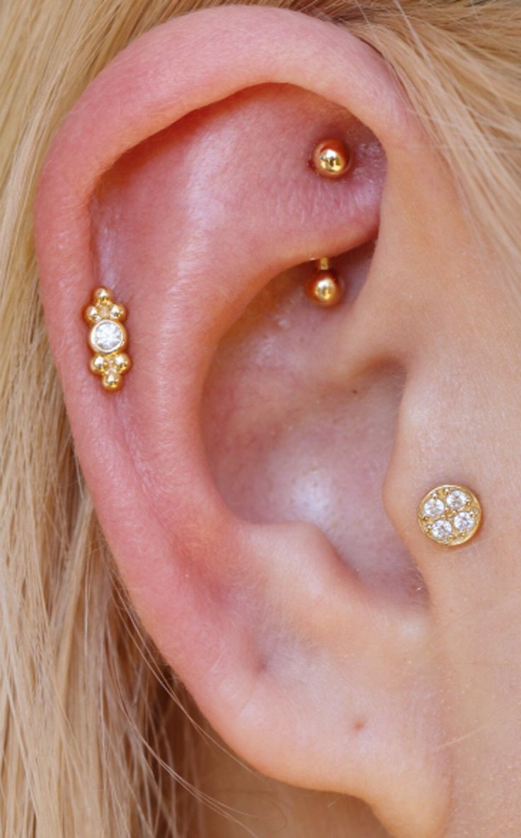 Delicate Ear Piercing Ideas at MyBodiArt.com - Gold Rook Barbell - Crystal Pinna Cartilage Helix Earring - Tribal Tragus Stud