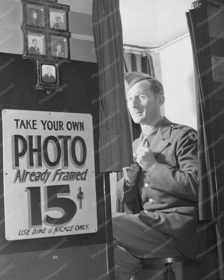Picture Booth Soldier Prepares for Self Photo 8x10 Reprint Of 1940s Here is a neat collectible of a soldier preparing to get his photo taken in a Photo Booth for 15 cents great item from the 1940s. Th