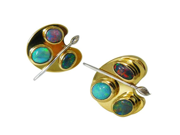 Artist's palette black opal cufflinks in 18ct yellow gold and white gold