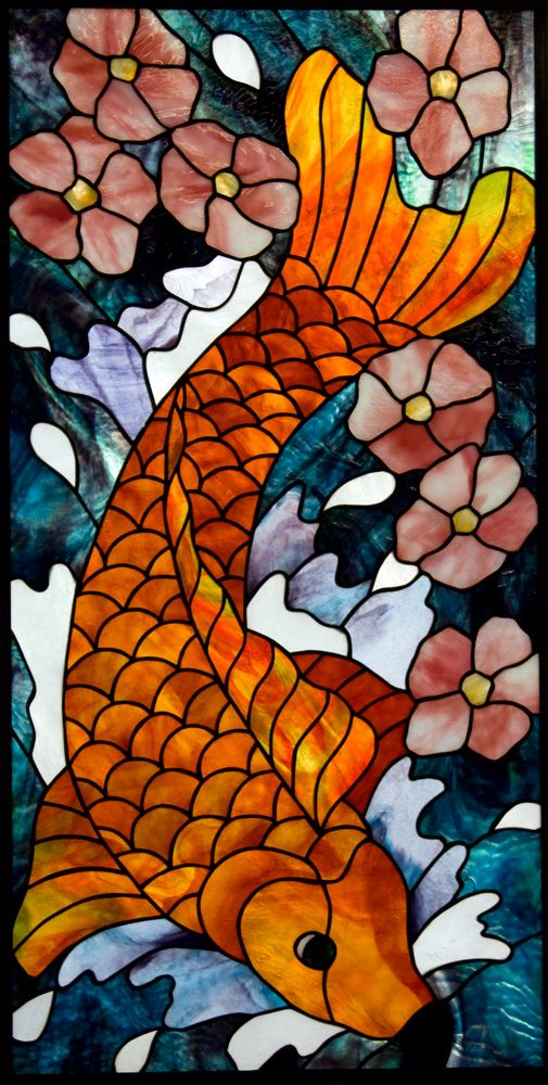 Koi Fish and Cherry Blosson Un-framed Stained Glass Panel © David Kennedy 2011