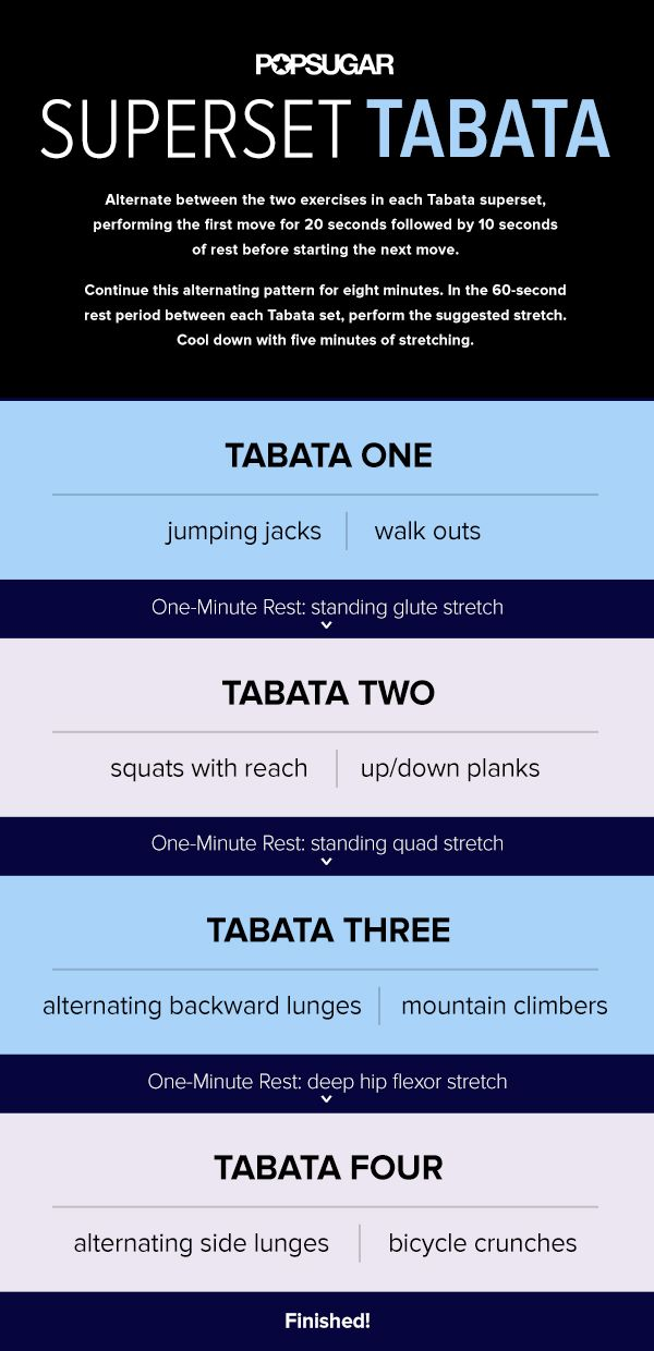 Alternate between 2 complementary moves for a total of 8 minutes. This modification gives your working muscles a bit more rest time between sets, which translates into better form for all your reps during each Tabata.