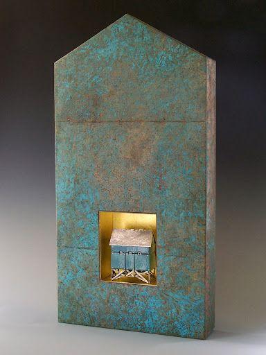 "'Blue Boathouse' Sterling, nickel, copper, enamel, wood, paper, 23k gold leaf. Aprx. 30"" tall"